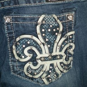 Miss Me Bootcut Jeans with Fleur De Lis Pockets